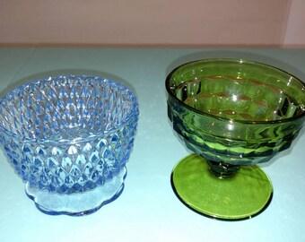 Vintage blue and green bowls with pedestal parfait glasses