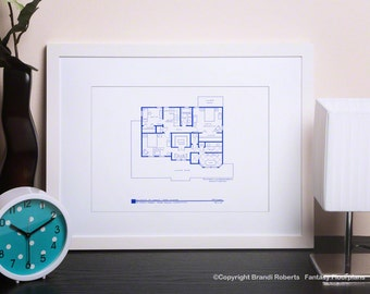 Gilmore Girls Wall Decor  - TV Show Floor Plan - Blueprint Poster Art for Home of Lorelai and Rory Gilmore - 2ND FLOOR
