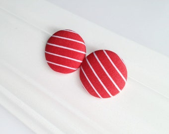 Coral red striped studs - Giant button earrings - Jumbo earrings - Recycled fabric covered button jewelry - Spring jewelry - Mamzelle Bouton