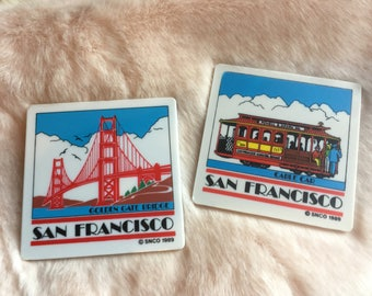vintage san francisco souvenir snco coasters, cable car and golden gate bridge, 1989, california