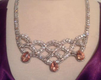 Cubic zirconia and rhinestone - lightpeach and Crystal Necklace