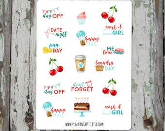 Watercolor Cherry Planner Stickers - Summer Journal Stickers