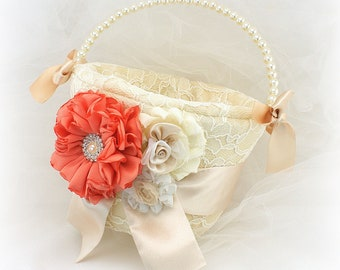 Champagne and Coral Flower Girl Basket Vintage Style Lace Wedding Basket for Petals