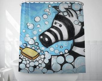 Shower Curtain, Zebra Art Bath Decor, Kids Bathroom Art, Illustration Art, Kids Bath Decor, Home Decor, Bath Curtain, Extra Long. MS016
