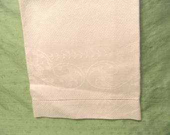 """Large ivory linen hand towel / vintage guest hand towel / white on white design / 18"""" x 32"""" washstand damask"""