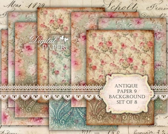Antique Paper 9 - background - digital collage sheet - set of 8 - Printable Download