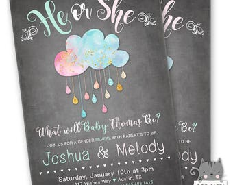 Gender Reveal Invitation, Gender Reveal Party, He or She Gender Reveal Invitation, Watercolor Cloud Gender Reveal Invite, Pink or Blue