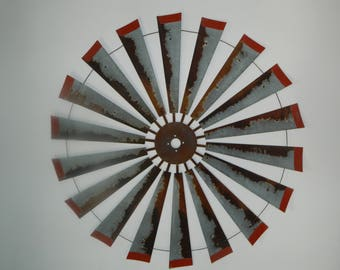 60 inch windmill with red tips- farmhouse decor-wall art- gift