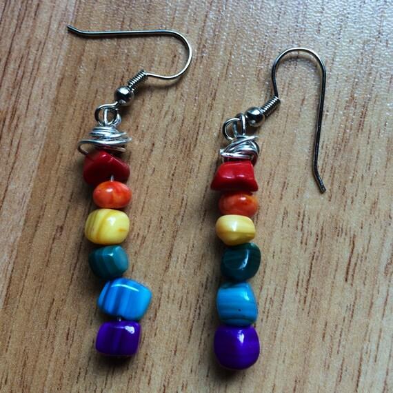 Happy Yogi Rainbow Chakra Dangle Earrings