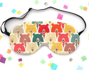 Rainbow Bears Sleep Mask, Soft Silk Eye Mask, Travel Accessory, Multicolour Gift