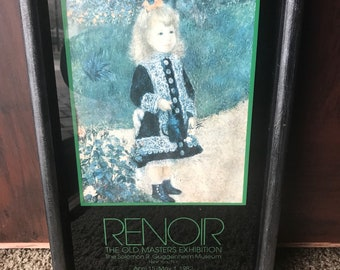 RENOIR  girl with watering can GUGGENHEIMER old masters exhibition 1982 framed print