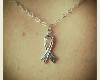 Sterling Silver Brain Tumor / Brain Cancer / Diabetes Awareness Necklace on a Heart Chain