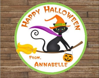Personalized Halloween Stickers   Halloween Cat Stickers      Halloween Favor Tags        Halloween Treat Bag Tags