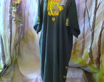Celtic Queen Dress Hunter Green Chartreuse Bohemian Sari Embroidered Large, XL, 1x, 2x, 3x, St. Patrick, Mori Girl, Ranaissance