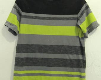 A Teens Vintage 80's,indie mod Striped Short Sleeve Top.L(14)