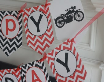Vintage Motorcycle Motorbike Harley Red Black Chevron Happy Birthday Banner - Toppers, Door Sign Favor Tags etc. Avail