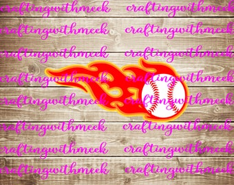Baseball Flames SVG - Cricut Explore - Design Space - Silhouette Cameo