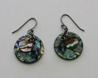 Abalone Shell Round Dangle Wire Pierced Vintage Earrings