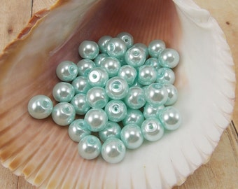 8mm Glass Pearls - Light Blue - 50 pieces
