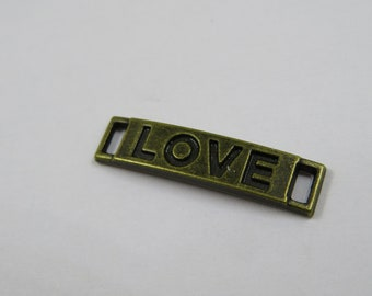 """bronze charm connector message """"LOVE"""" (A42)"""
