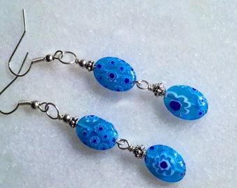 Millefiori Earrings, Aqua Silver Earrings, Millefiori Glass Dangles, Blue Earrings, Silver Blue Earrings, Flower Earring, Millefiori Jewelry