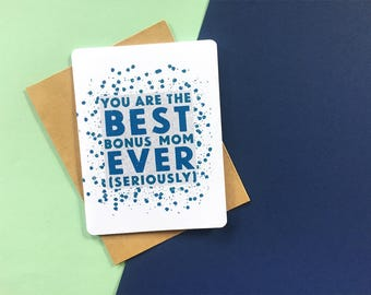 Best Bonus Mom card | Mom Birthday card | Bonus Mom Birthday card | Mom Birthday Card | Funny card for stepmom, mother in law, mentor