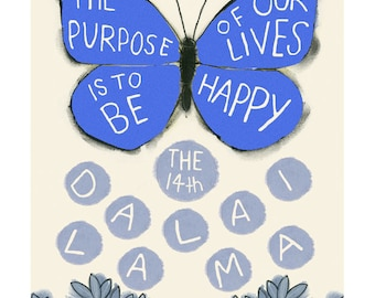 "Typography quote  illustration - The Purpose of our Lives... 8.3"" X 11.7"" print - 4 for 3 sale"