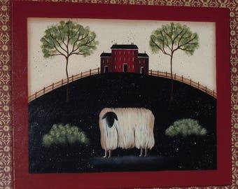 Folk Art Primitive Hand-Painted Sheep House Fence Trees Plaque Wood
