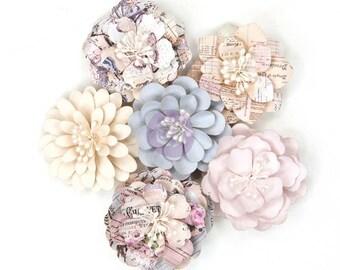 Prima LAVENDER COLLECTION - EMMELINE Flowers 6 Pieces Paper Flowers 631215