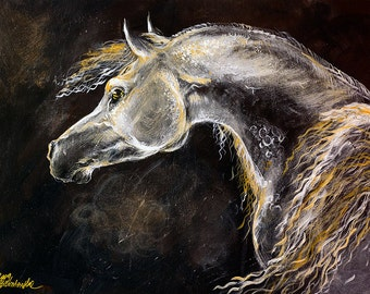 Grey arabian horse, equine art, equestrian,  horse portrait, original acrylic painting on board