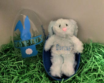 Jumbo Plastic Easter egg with personalized plush bunny