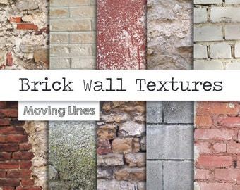 Brick Wall Digital Paper Pack, Shabby Stone Background, Weathered White Brick Texture, Distressed Plaster, Stucco Wall