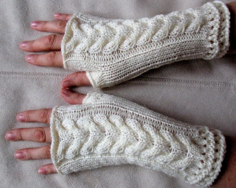 White Fingerless Gloves Mittens knit