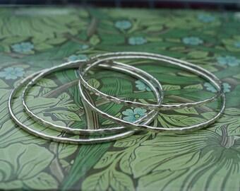 Hammered Silver Bangle, Textured Bangle, Narrow Bangle