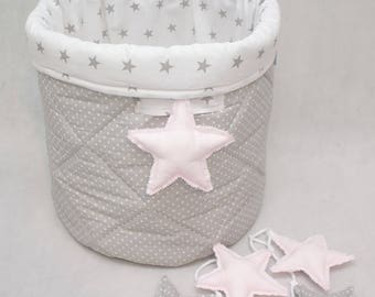 Basket toy bag,  stars & polka dots / Toy box / fabric basket