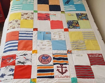 Toddler Quilt -keepsake quilt - memory quilt - onsie quilt - tshirt quilt -upcycled quilt