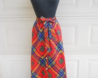 SALE 60s Mod Plaid Quilted Maxi Hostess Skirt