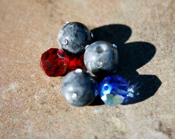 Fossil Glass and Swarovski Crystal Beads