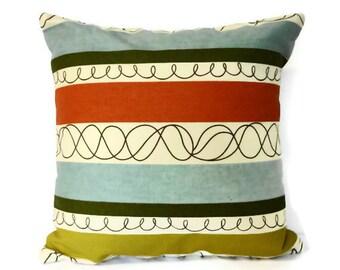 Decorative Throw Pillow, P Kaufmann Fabrics, Coral, Green, Blue, 14x14, Cushion Cover