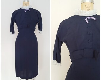 Vintage 1960s Dress / Navy Blue Wiggle Dress / High Neck / XS