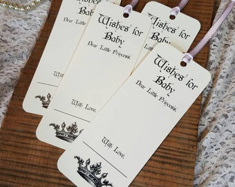 Set of 8 Baby Shower Wishing Tree Tags / Fairy Tale Princess Theme / Little Prince Theme / Wishes for Baby / Baby Shower Game / Fairy Theme