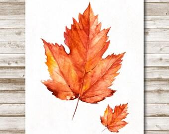 Autumn Leaves Printable Fall Wall Art Autumn Decor Red Orange Maple Leaves Leaf Fall Print 5x7 8x10 11x14 16x20 Photography Prop Fall Decor
