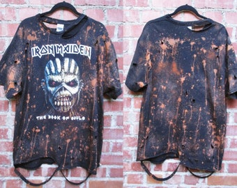 Mens Iron Maiden bleached distressed shirts S-XL band tee The book of souls