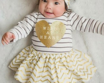 Gold Chevron Skirt and Head wrap Set- gold chevron head wrap, gold chevron baby skirt, little girl skirt, baby smashcake outfit