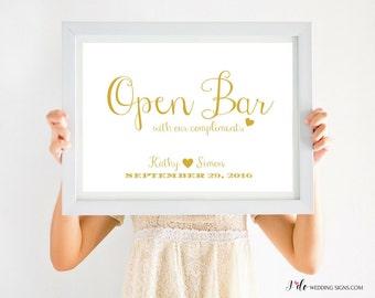 Open Bar Sign |  Wedding Sign Printable | Metallic Gold Wedding Decor | Wedding Reception Alcohol Sign | CWS307_2511C