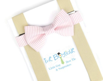 Blush Bow Tie, Champagne Suspenders, Striped, Adult Bow Tie, Toddler Suspenders, Pink, Peony, Carnation, Ring Bearer Gift, Mens Blush Tie