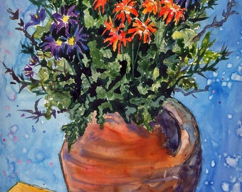 Wild Flowers, Bouquet, Terra cotta, clay vase, orange, red flowers, blue background, watercolor print