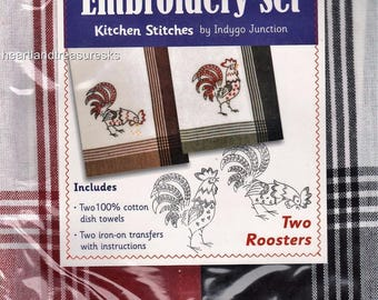 Two Roosters Dish Towel Embroidery Set 2 Towels + 2 Transfer Pattern Kit