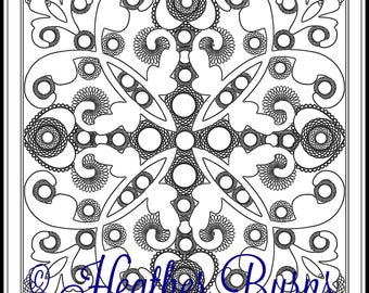 Coloring Page/Galaxy Tile/Adult Coloring/Celtic Coloring Page/Coloring Sheets/Unique Coloring/Colouring Page