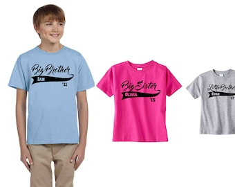 Big Brother shirt Big Sister Shirt Set 3 sibling shirts Big Little Brother sister gift New baby announcement Personalized name year baseball